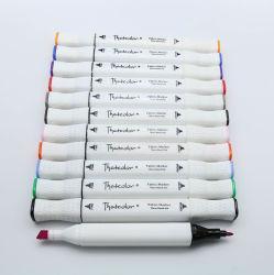 44 cores Ponta Twin Farbic permanente do Marcador de têxteis