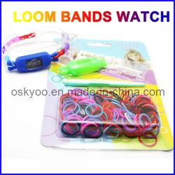 Kreativer DIY Kind-Spielwaren-Satz-versieht gesetzter Regenbogen-Webstuhl Armband-Uhr mit einem Band