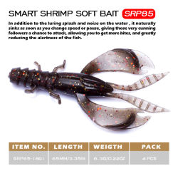 Esca molle di pesca all'ingrosso con la plastica molle di richiamo del gambero dell'esca del gamberetto del gambero 5.7g dell'amo 8.5cm