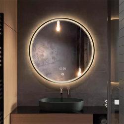 Heller Badezimmer-Spiegel des kundenspezifische Größen-runder schwarzer Rahmen-LED