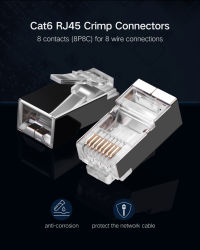 RJ45 Cat5e CAT6 RJ45 Ethernet-Kabel-Kopf-Stecker Gold-Plated Falz-Netz Rj 45 des Verbinder-8p8c modularer Bördelmaschine-Verbinder CAT6