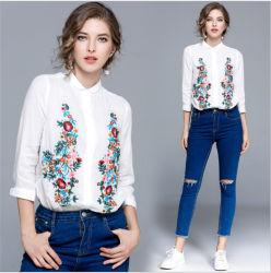 Women's Long Sleeve White shirts avec logo d'impression