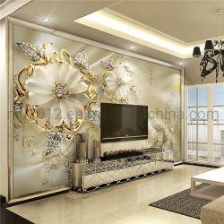 La maschera murala del fiore dell'oro della decorazione domestica autoadesiva è carta da parati decorativa