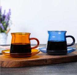 صاحب مصنع باع بالجملة عال [بوروسليكت] [هت-رسستنت] لون حزام سير زجاجيّة [كفّ كب] لبن [كب وتر] فنجان لوحة مجموعة
