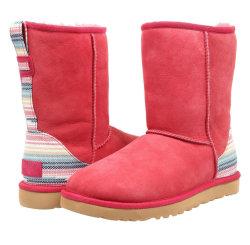 Sedex plat d'hiver de vérification de la fourrure de la neige à la cheville en daim Mesdames cuir Femmes Fourrure Bow bottes bottes de peau de mouton en daim rouge