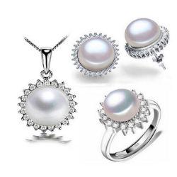 Heiße Verkaufs-Schmucksachen stellten silbernes Perlen-Halsketten-Ring-Set der Schmucksache-925 ein