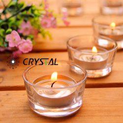 Portacandele in vetro bianco alto/tazza in vetro candela