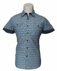 Moda casual de algodão, camisa de manga curta para homens