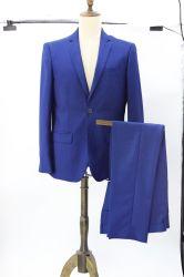 남자의 꽃 자카드 직물은 2개 피스 결혼식 감청색 블레이저 코트 재킷 & 바지를 적응시킨다