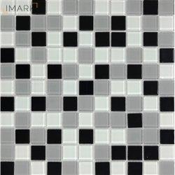 Preto e Branco Mosaico Mosaico de vidro cristal para cozinha painel contra salpicos