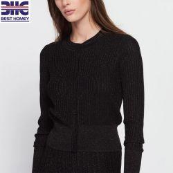 Indumenti potati del maglione del cardigan del tasto lavorati a maglia manicotti lunghi metallici del collo di squadra di effetto delle donne per le signore
