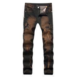 2019 Hot Fashion Design imprimé occasionnel des hommes Biker insignes Pantalon jeans denim brossé