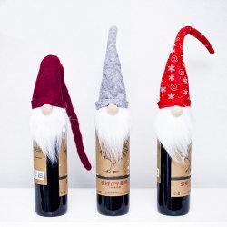 O Natal Hat Rudolph Doll Conjunto Vermelho Saco de caso de garrafas de vinho