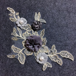 DIY handmade craft broderie fantaisie 3D'Or dentelle métallique applique