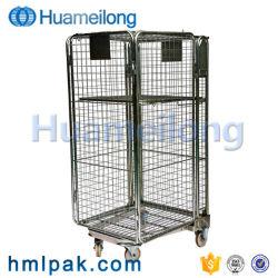 Het vouwen van Kar van de Container van het Broodje van het Netwerk van de Draad van China de Stijve met Wielen