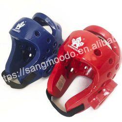 Comercio al por mayor azul rojo el color de casco de marcha de las Artes Marciales Karate Taekwondo jefe de guardia