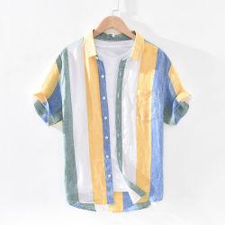 2020 оптовая торговля мужской моды повседневный Hawaiian постельное белье Хлопок рубашки в полоску для мужчин