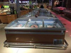 Hot Sale commercial de l'île de la poitrine de fruits de mer profonde horizontale vitrine avec portes coulissantes en verre incurvé pour supermarché