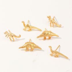 方法恐竜のEaringsの金合金の漫画の耳の女の子のためのスタッドによってセットされる方法動物型の宝石類