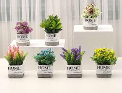 Comercio al por mayor Flores artificiales de plástico mini planta decorativa Bonsai Thistle Babysbreath lavanda para el hogar y decoración de oficina