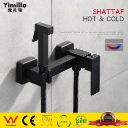 Pistola de Pulverização do misturador Shattaf preto acessórios de banho