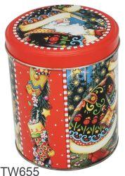عيد الميلاد هدية مربع مستديرة معدنية علبة، عيد الميلاد الشوكولاته صندوق التين، صندوق التين لكوكى