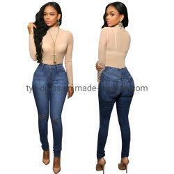 China-Fabrik-kundenspezifische gebildete Großhandelsqualität populäre Frauen `S zerrissene dünne Jeans