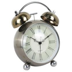 5.5 Zoll-Antike-gewölbte Glasobjektiv-Bronzen-Fertigstellungs-Metalzwilling-Bell-Alarmuhr