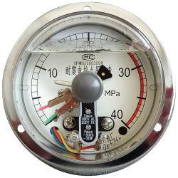 YX (N) C-serie, 4 inch, elektrische contactdrukmeter, 380 V, schakelaarcontact, alarmcontact, vloeistof gevuld, Roestvrijstalen behuizing, manometer, onderste bevestiging, radiaal
