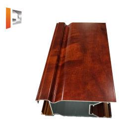 알루미늄 슬라이딩 윈도우 및 문을%s Wood-Grain 분말에 의하여 입히는 알루미늄 밀어남 또는 내밀린 단면도