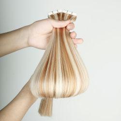 #P27/613 a doble cara 100% Remy, secador de pelo cinta doble dibujada, la más alta calidad de la piel Invisible trama Cinta de pelo extensiones