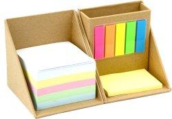 Imprimés promotionnels personnalisés pliable Cube carré de papier Kraft Sticky Note Bloc-notes Boîte avec porte-stylet