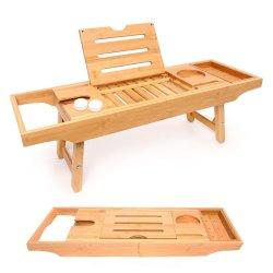 Ванна лоток и лоток Combo - Premium бамбуковой древесины с 2 Ванна Лаванды бомб - складные ножки/полностью регулируемая для лучших домашних спа Bt-6030