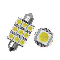 5050 9LED Blanco 36mm 39mm 41mm LED coche DC 12V C10W C5w de la puerta de estacionamiento de la luz de la copia de seguridad domo embellecedor LED de Puerta trasera LED lámpara de lectura