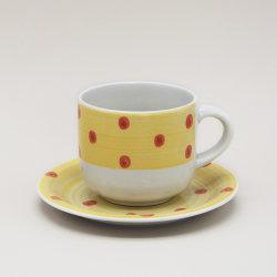 石器の手塗りの陶磁器のコップそしてソースマグ