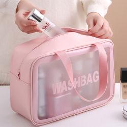 Logotipo personalizado impermeable Rosa grandes bolsas de cosméticos TPU funda con cremallera de la vanidad de PVC transparente Kit de belleza maquillaje viajes claro conjunto de la bolsa de lavado