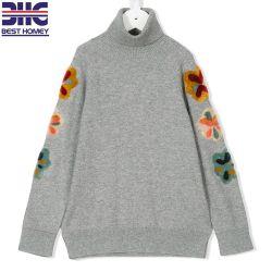 Des filles Design Flower Patch manches longues col roulé coton Pull Pull pour les enfants pour les enfants