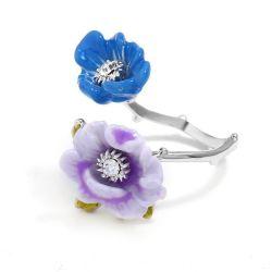 Mode Schmuck Email Blume Zircon Verstellbarer Ring Für Mädchen Geschenk