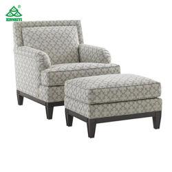 Espuma de alta densidad de tejido de lujo solo un sofá con otomana Madera de fresno Base para el Salón del Hotel
