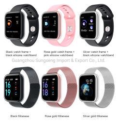 心拍数の防水金属のシェルを数える適性のステップはスマートな腕時計、シリコーンストラップ、ミラノの鋼鉄ベルトを遊ばす