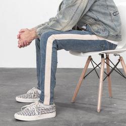 Beunruhigte Patchwork gewaschene blaues dünnes Denim zerrissene Mann-Hose Jean