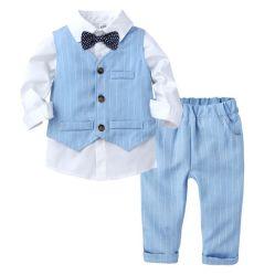 3 в европейском стиле ПК ребенка мальчика Господа дети обмундирование Tshirt+полосатая Майка+брюки официальных обмундирование мальчика комплект пружин дети одежда мода свадьбы