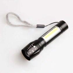 Super brillante LED Zoom Q5 T6 con el lado de la luz de linterna de aluminio resistente al agua de la luz de la COB Noche de Luz LED linterna recargable USB