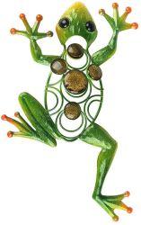 Office Hogar Boho Frog Decoración de pared de metal al aire libre Arte cristal decorativo escultura verde para el jardín