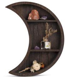 Montado na parede flutuante em madeira Moon prateleira para sala de estar quarto
