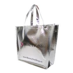 Non tissé sac métallique, commerce de gros réutilisables de promotion de la lamination écologique durable Spunbond recyclables supermarché des vêtements de l'emballage cadeau Shopping sac fourre-tout