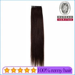 le estensioni umane diritte scure dei capelli della piuma dei capelli del Virgin del Brown Remy della qualità 10A Nessun-Capovolgono i capelli