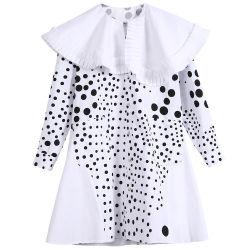 Bordo irregolare della camicia di cotone della molla delle 2020 donne/del collare merletto asimmetrico di estate grande un vestito dalla camicia di figura