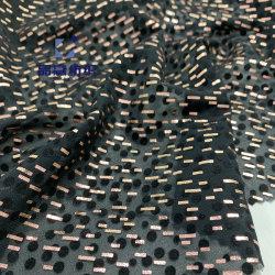 Py19081 or mousseline de soie polyester tissu floqué d'impression