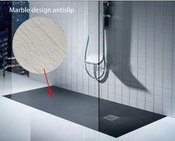 Negro mate acrílico Antideslizante Bandeja de ducha de mármol moderna gran ducha ducha personalizada de la base de pan